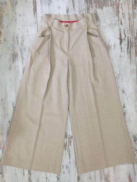 Дамски разкроен панталон с висока талия
